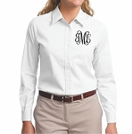 Monogrammed WHITE Long Sleeve Button Down Shirt (Ladies)