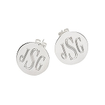 Sterling Silver Monogrammed Stud Earrings