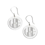 Sterling Silver Monogrammed French Wire Earrings