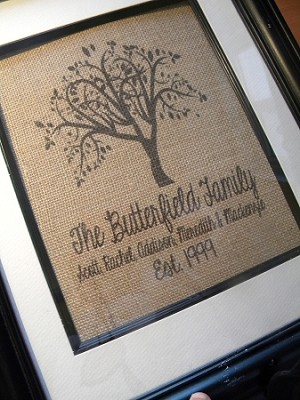 Burlap Print- Family Tree