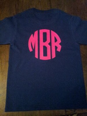Youth Short Sleeve Vinyl Monogrammed TShirt (one sided)